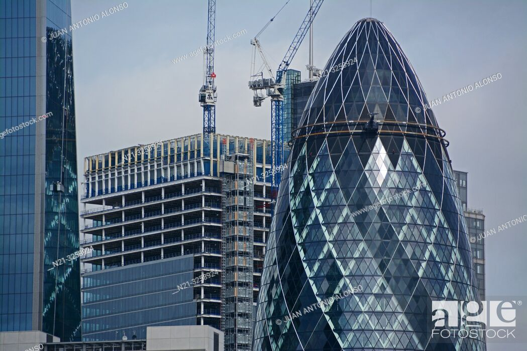 Stock Photo: Partial view of the Leadenhall Building on the left, the 100 Bishopsgate under construction and the 30 St. Mary Axe -The Gherkin- in the Financial District.