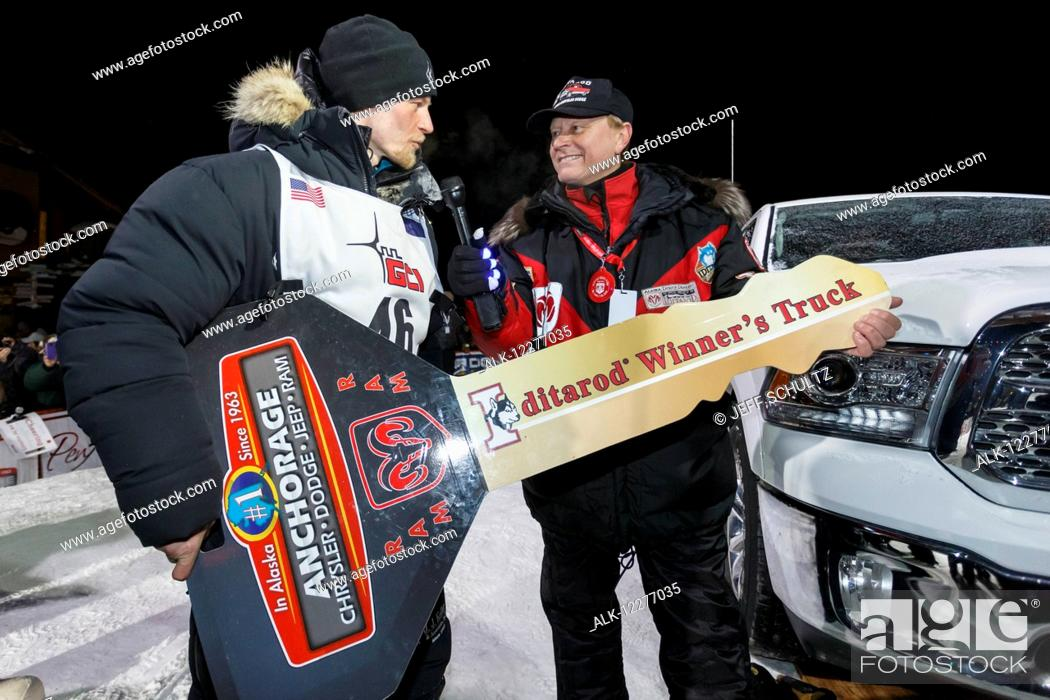 Dallas Seavey recieves the key to his new Dodge truck after