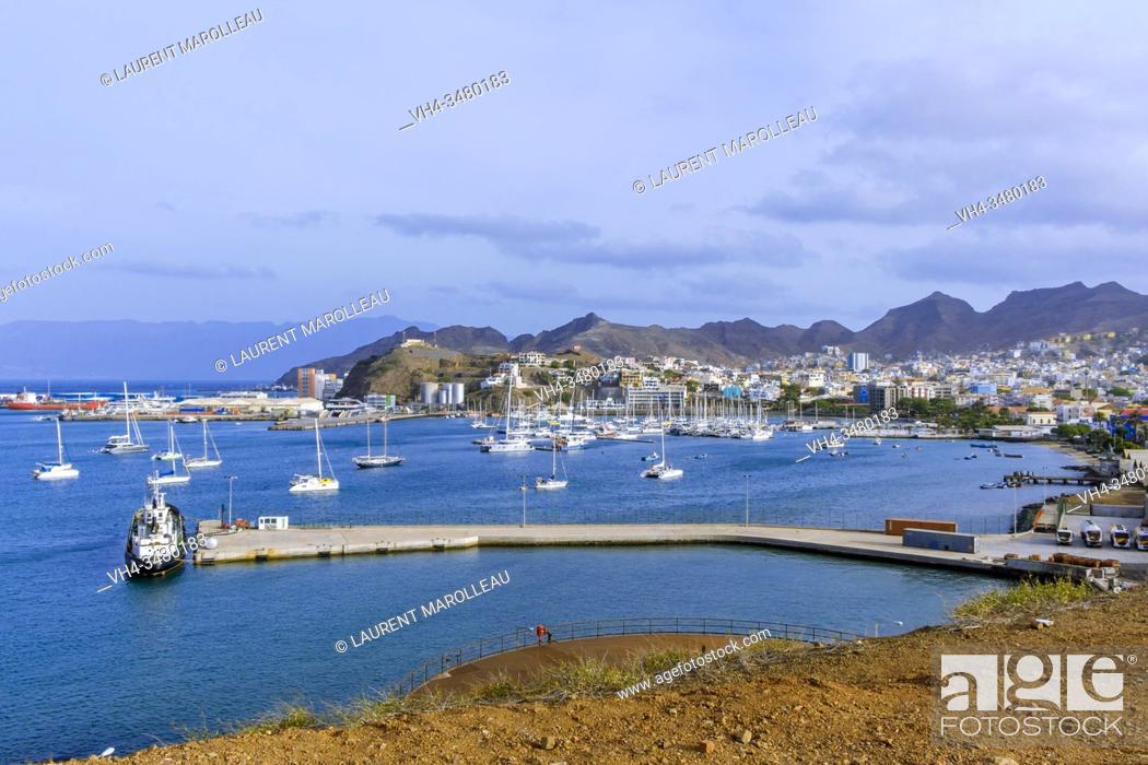 Stock Photo: The City of Mindelo and Porto Grande Bay, Mindelo, Sao Vicente, Cape Verde Islands, Africa.