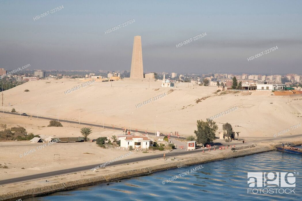 Stock Photo: View along bank of the Suez Canal. Egypt. Africa.