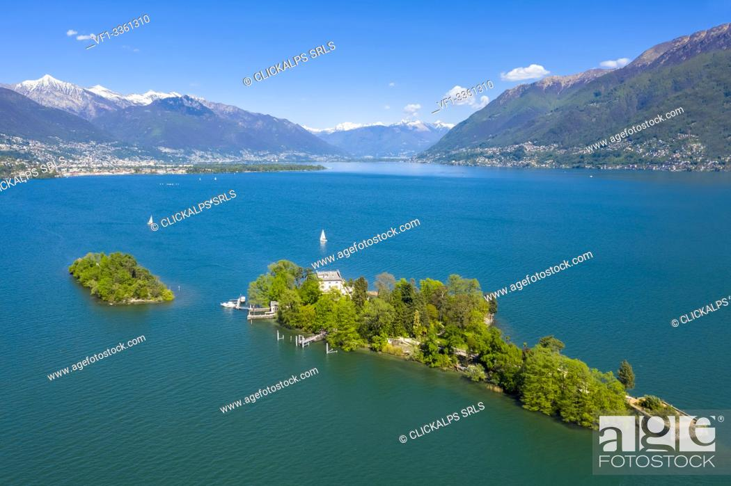 Stock Photo: Aerial view of the Brissago Islands near Ascona, on the northern part of the Lake Maggiore. Canton Ticino, Switzerland.