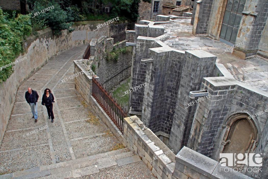 Stock Photo: promenade, the Cathedral of Santa Maria, Girona, Catalonia, Spain.