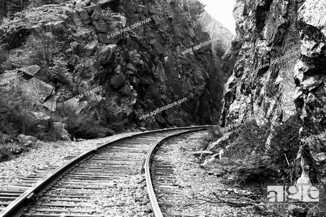 Stock Photo: Crawford Notch State Park - Crawford Notch Pass along the Maine Central Railroad in the White Mountains, New Hampshire USA.