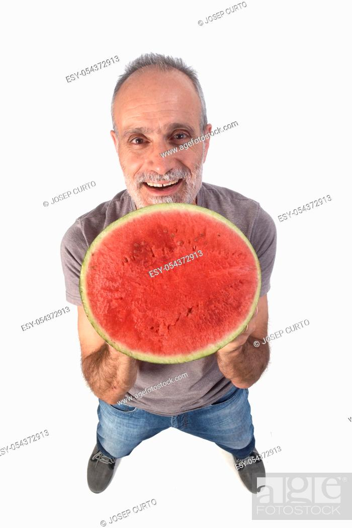 Stock Photo: man with watermelon on white background.