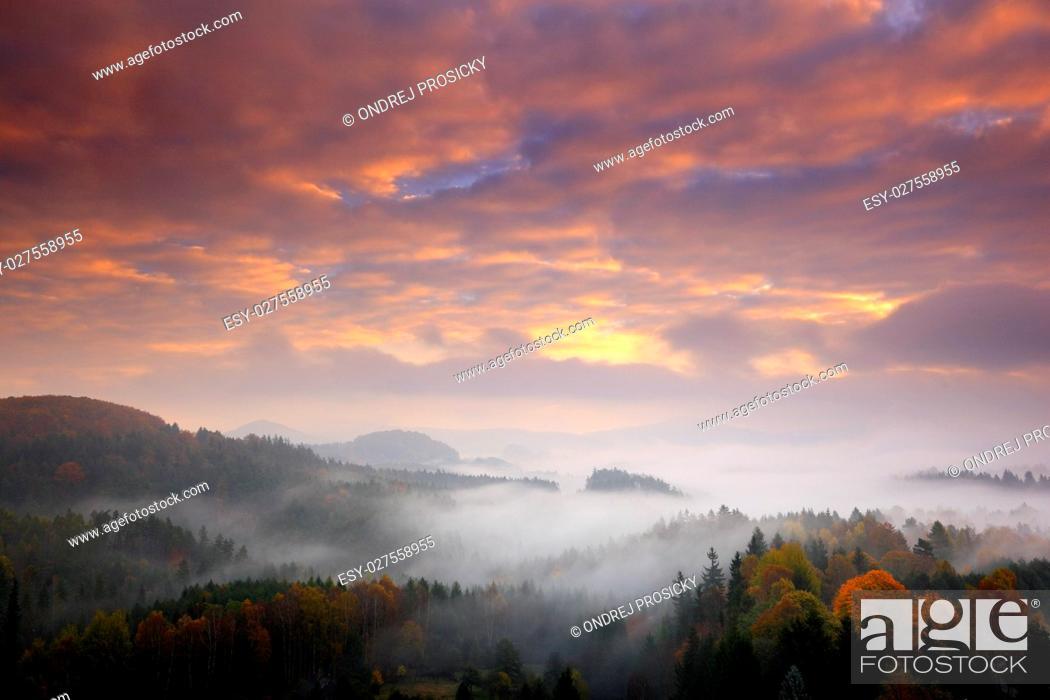 Stock Photo: Czech typical autumn landscape.