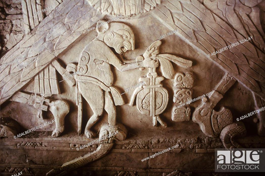 Stock Photo: Maya hieroglyph of Tonina pre-Columbian archaeological site. Chiapas, Mexico.