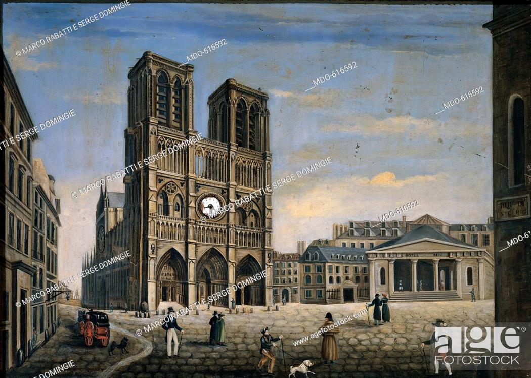 Notre-Dame de Paris, by Villa Andrea, 1831, 19th Century, oil on ...