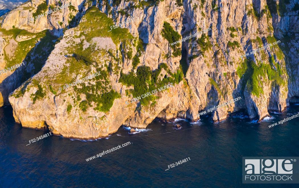 Stock Photo: Aerial View, Mount Candina, Liendo, Liendo Valley, Montaña Oriental Costera, Cantabrian Sea, Cantabria, Spain, Europe.