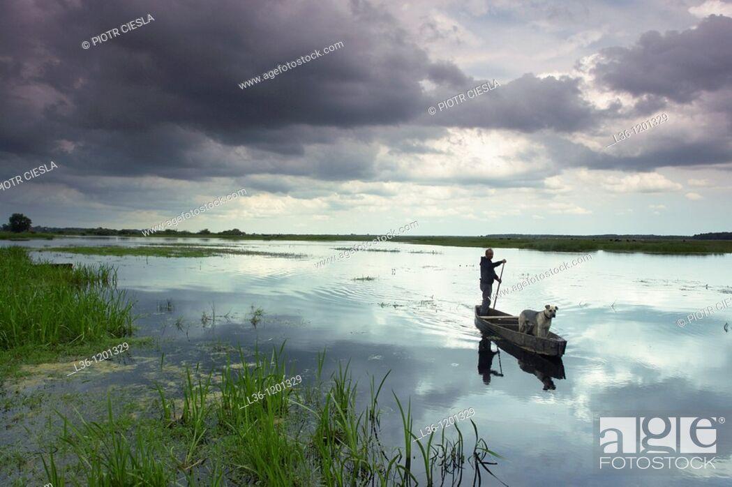 Stock Photo: Biebrza river in the villiage of Burzyn  Biebrza National Park  Biebrzanski Park Narodowy.