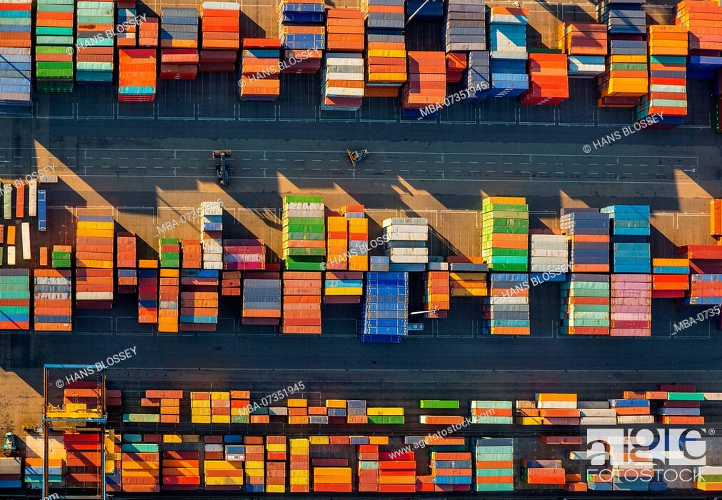 Stock Photo: Stacked containers on Logport I, inland port, Rhine port, Duisburg port, Duisburg, Ruhr area, North Rhine-Westphalia, Germany.