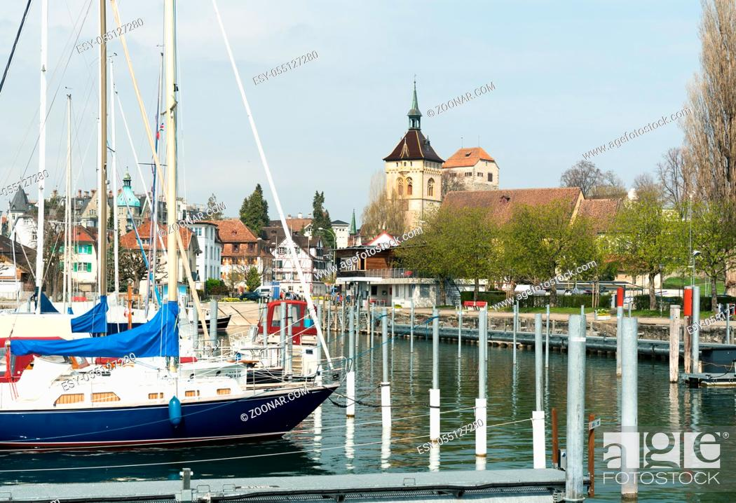 Stock Photo: Aarbon, SG / Switzerland - April 7, 2019: view of the harbor and old town of Arbon on the shores of Lake Constance in Switzerland.