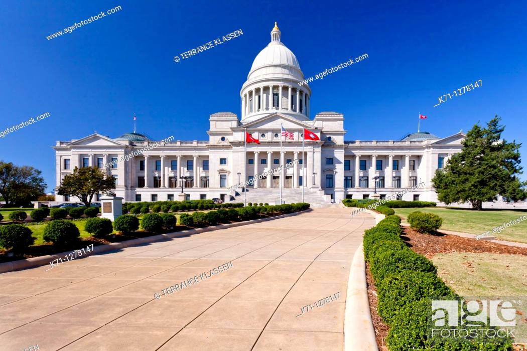 Stock Photo: The Arkansas State Capitol building in Little Rock, Arkansas, USA.