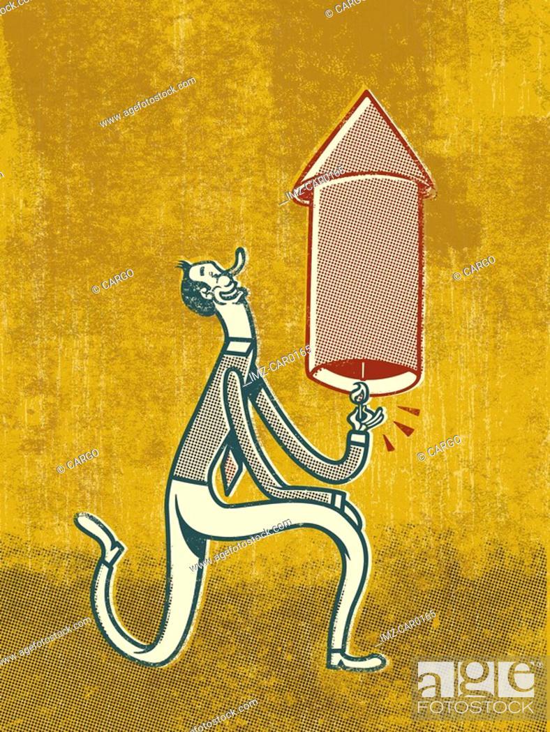 Stock Photo: A man lighting a firecracker.