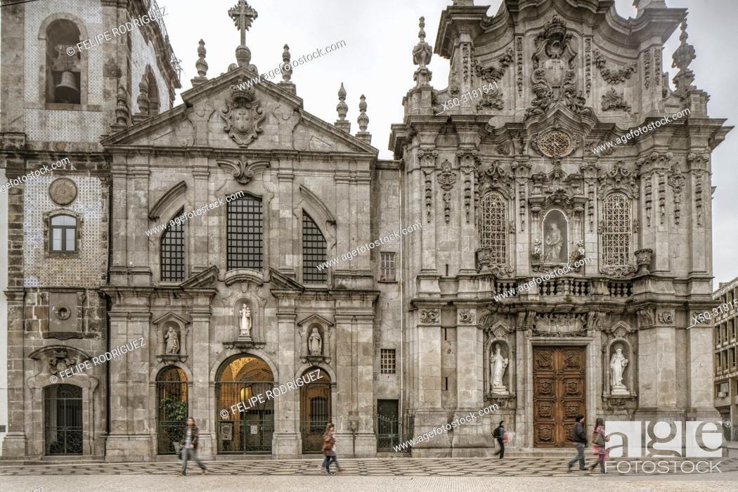 Stock Photo: Facades of Carmelitas Church (Igreja dos Carmelitas Descalços, left) and Carmo Church (Igreja do Carmo), Porto, Portugal.