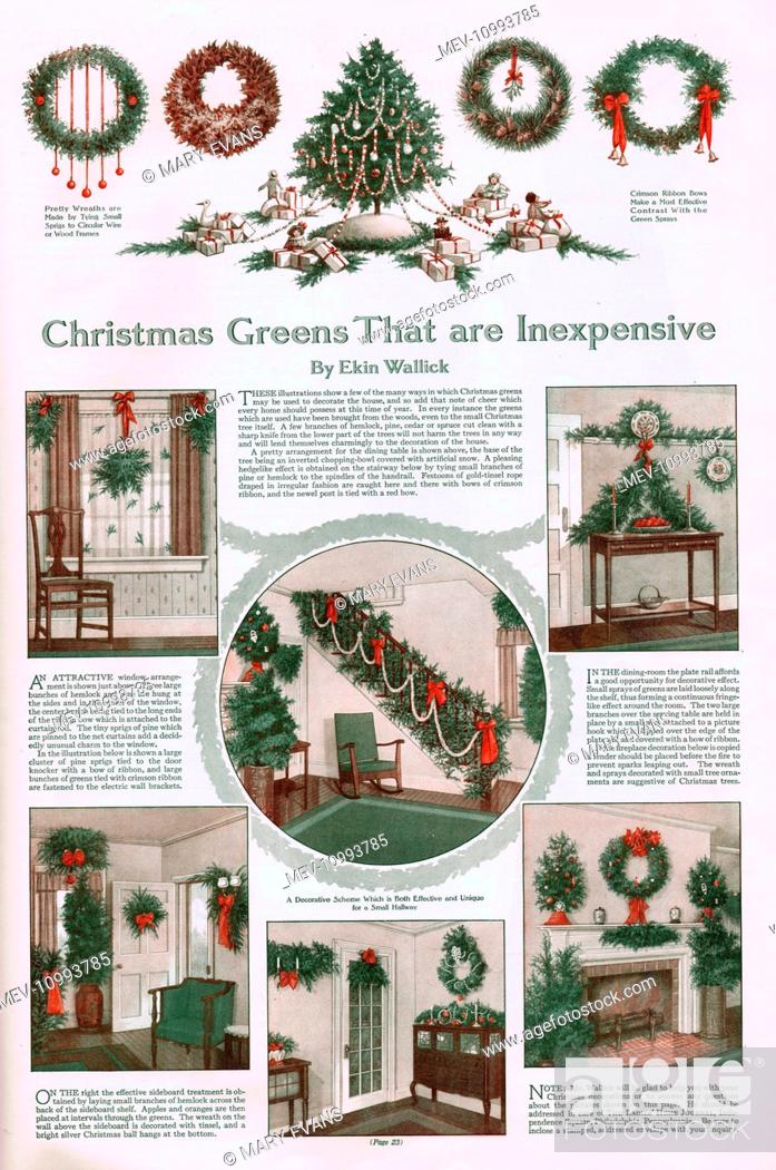 Stock Photo - Decorate your home with inexpensive Christmas greenery - from a tree to wreaths and decorations for tables, side-boards, windows, hallways and ...