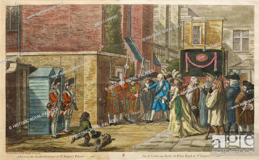 Stock Photo: An assassination attempt on King George III by Margaret Nicholson, a former domestic servant. The attack was unsuccessful; Nicholson was seized immediately by.