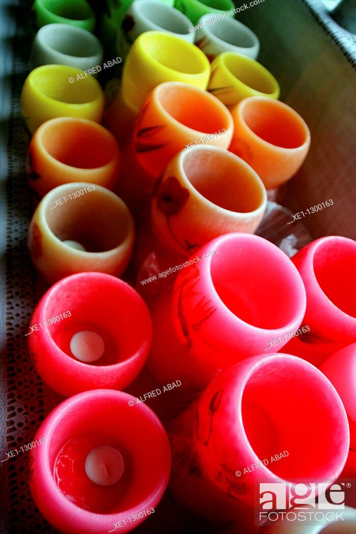 Stock Photo: colored wax bowls.