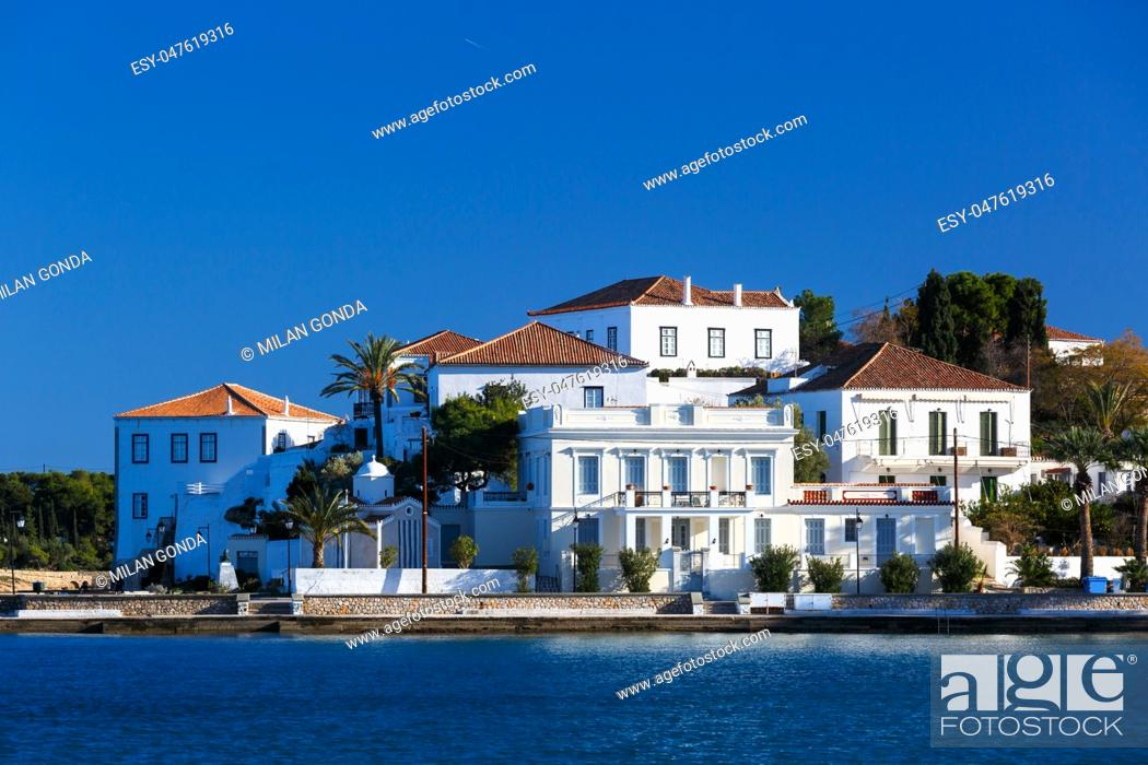 Stock Photo: View of traditional architecture in Spetses village, Greece. .
