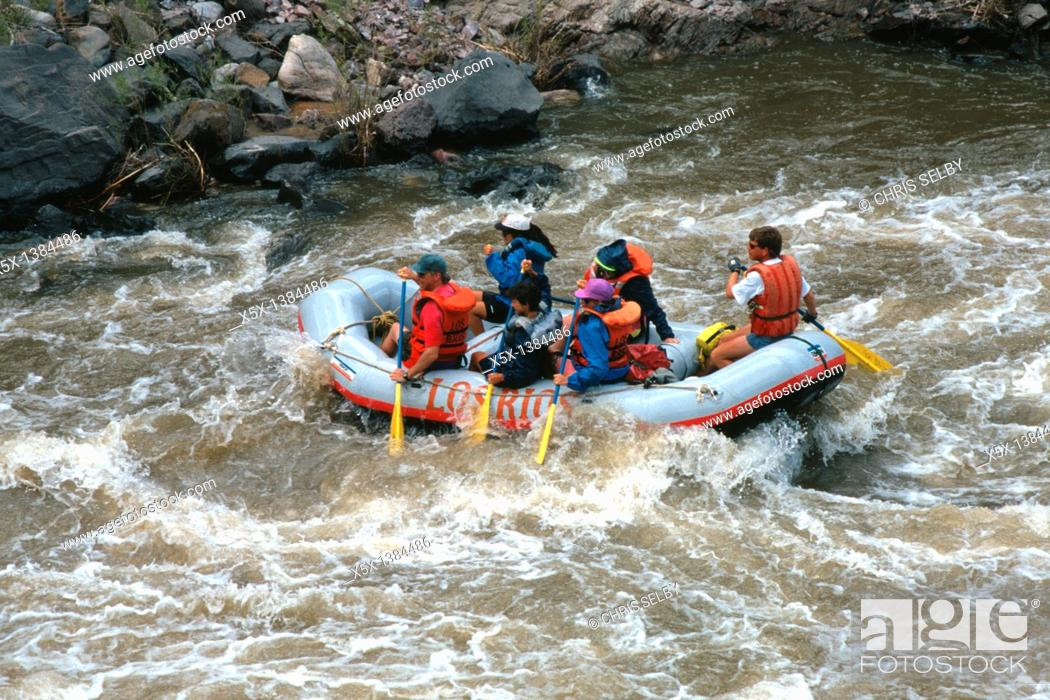 Stock Photo: White Water Rafting on the Racecourse section of the Rio Grande River near Pilar, New Mexico, USA.