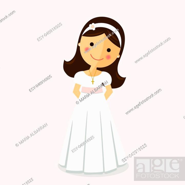 Stock Vector: Girl with communion dress on ocher background.