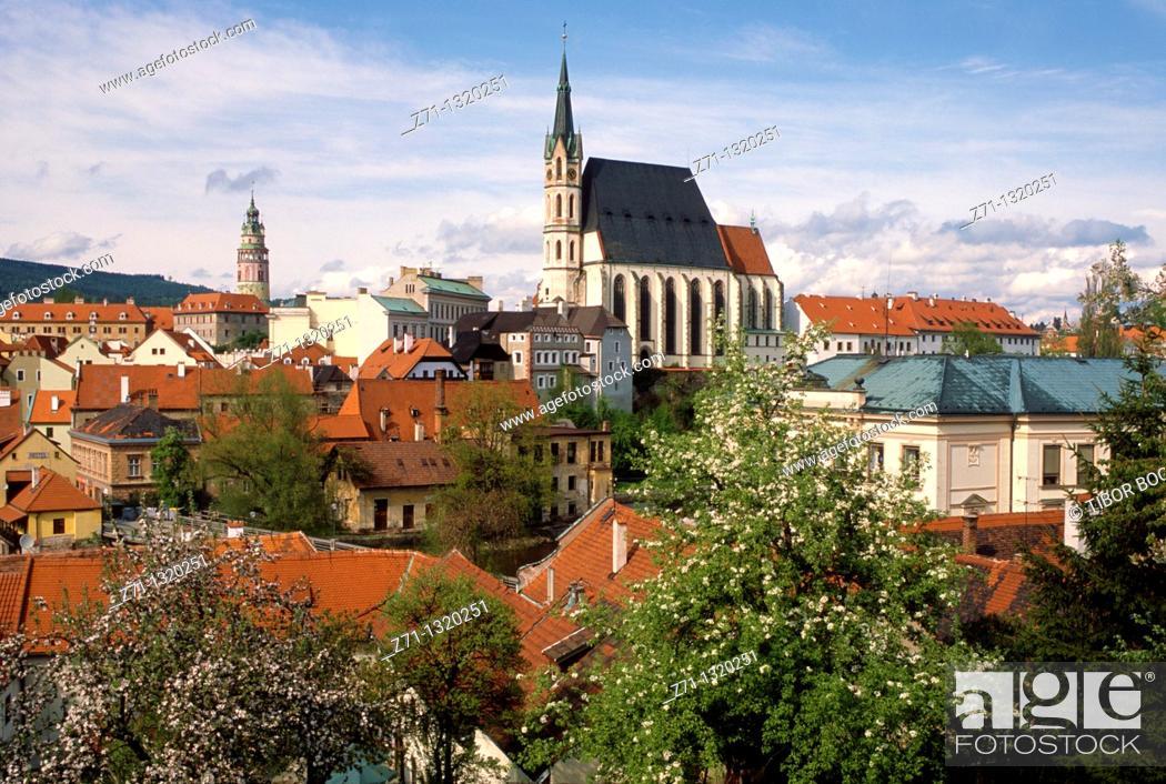 Stock Photo: Czech Republic, Ceski Krumlov, general view,.