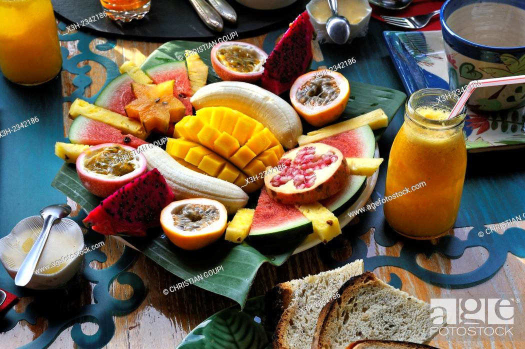 Stock Photo: breakfast served at ''Habitation Getz'' guesthouse, Vieux-Habitants, Basse-Terre, Guadeloupe, overseas region of France, Leewards Islands, Lesser Antilles.