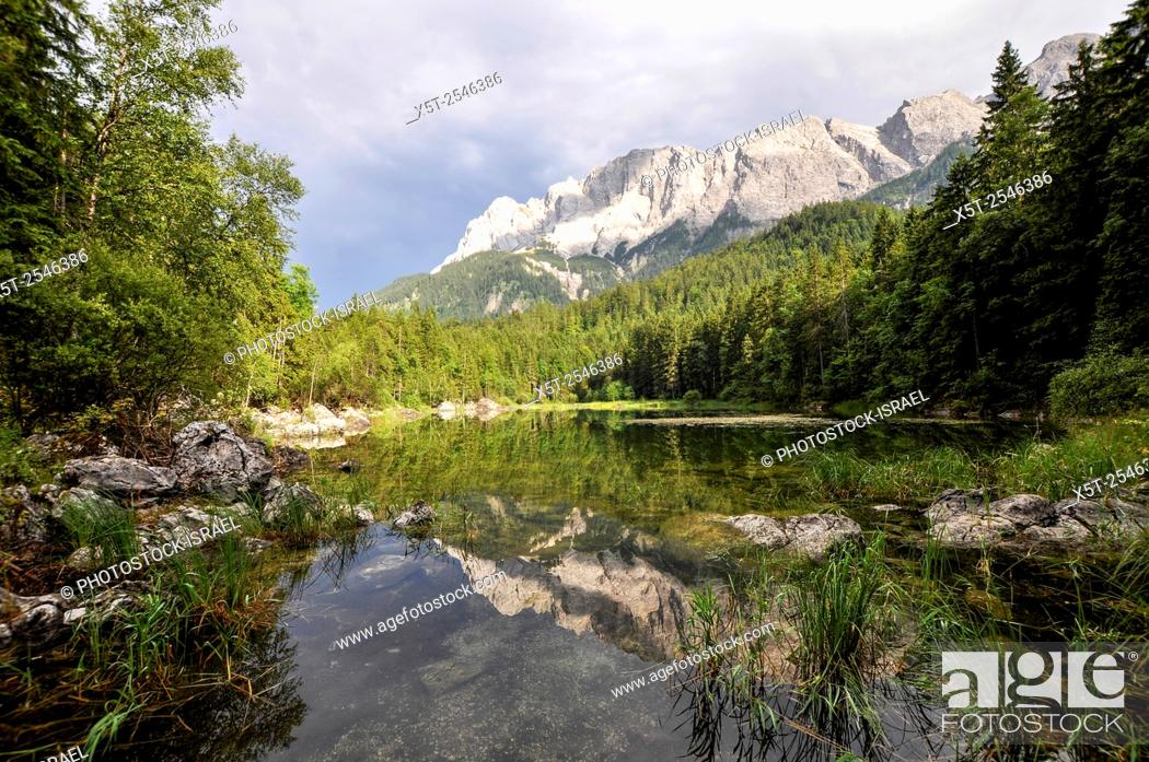 Stock Photo: Eibsee, Bavaria, Germany. Zugspitze mountain in the background.