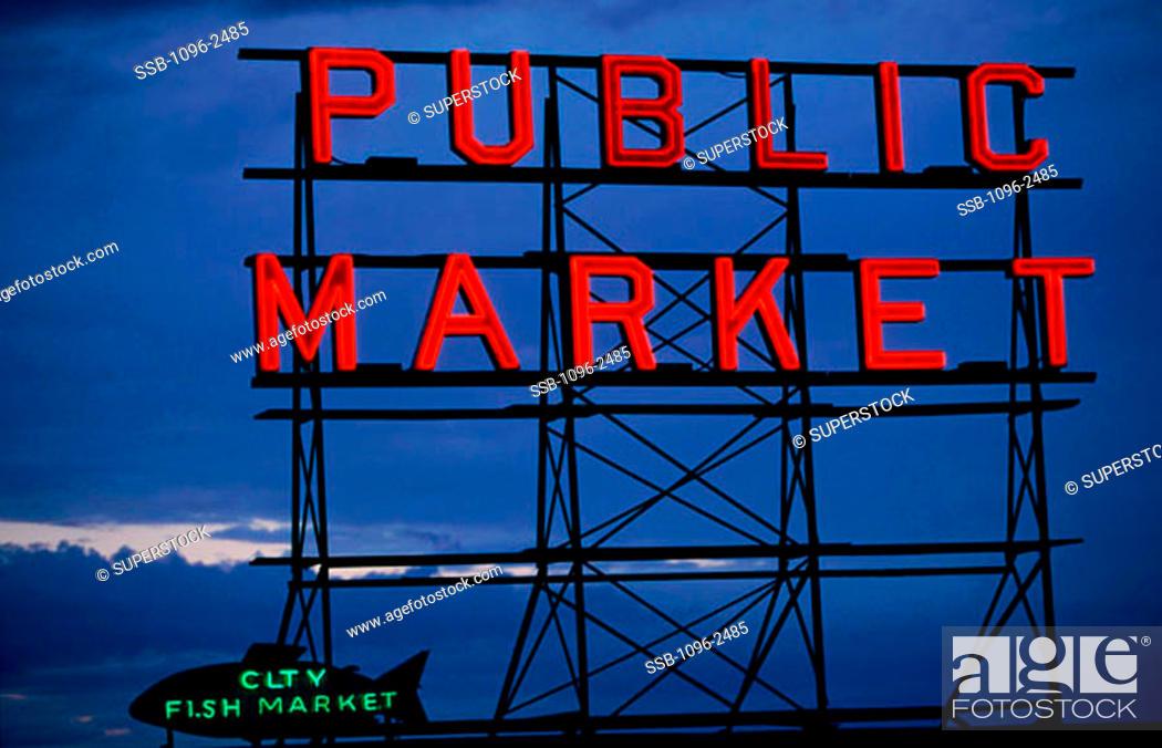 Stock Photo: Pike Place Market Seattle Washington, USA.