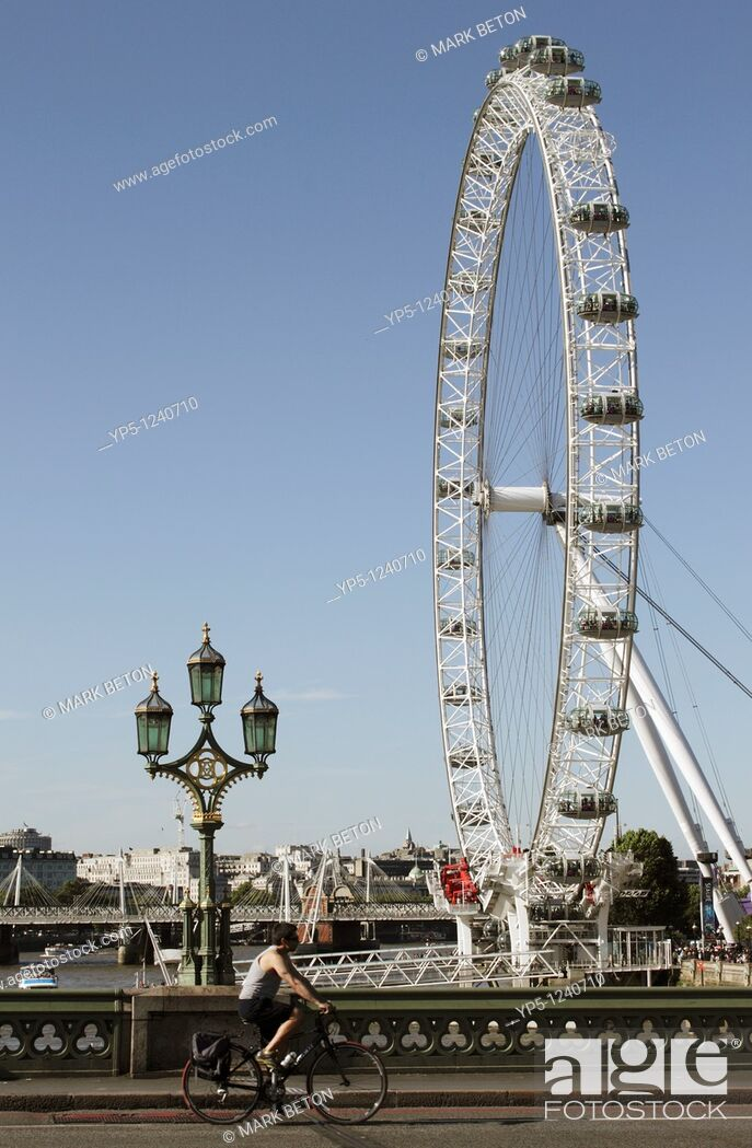 Stock Photo: London Eye viewed from Westminster Bridge.