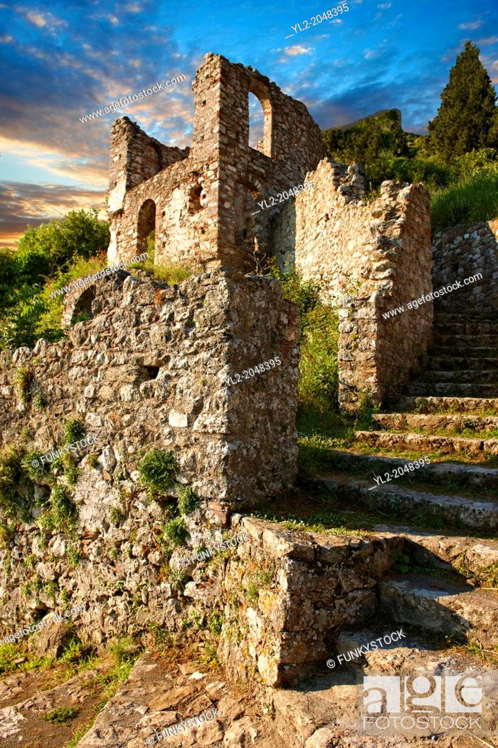 Stock Photo: Mystras established in 1205 after the conquest of Constantinople during the Fourth Crusade by Prince William II Villehardouin & capital of the Byzantine.