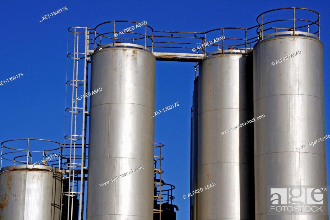 Stock Photo: Storage tanks, industry, Gava, Barcelona province, Spain.