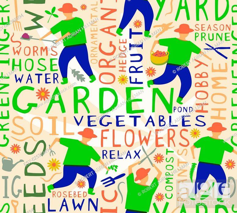 Stock Vector: Vector seamless tile on a gardening theme.