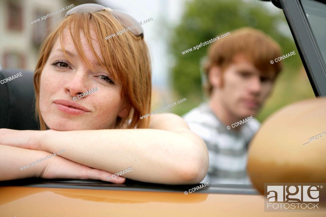 Stock Photo: face, woman, portrait, convertible, couple, friend.