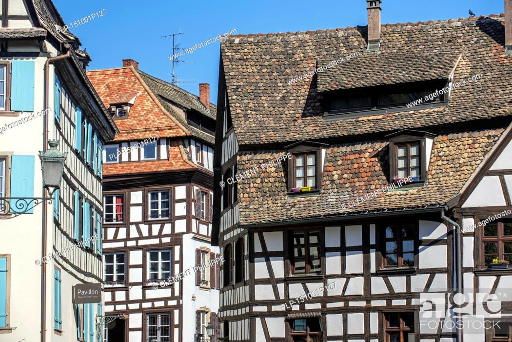 Stock Photo: Half-timbered houses in the Petite France quarter of the city Strasbourg, Alsace, France.