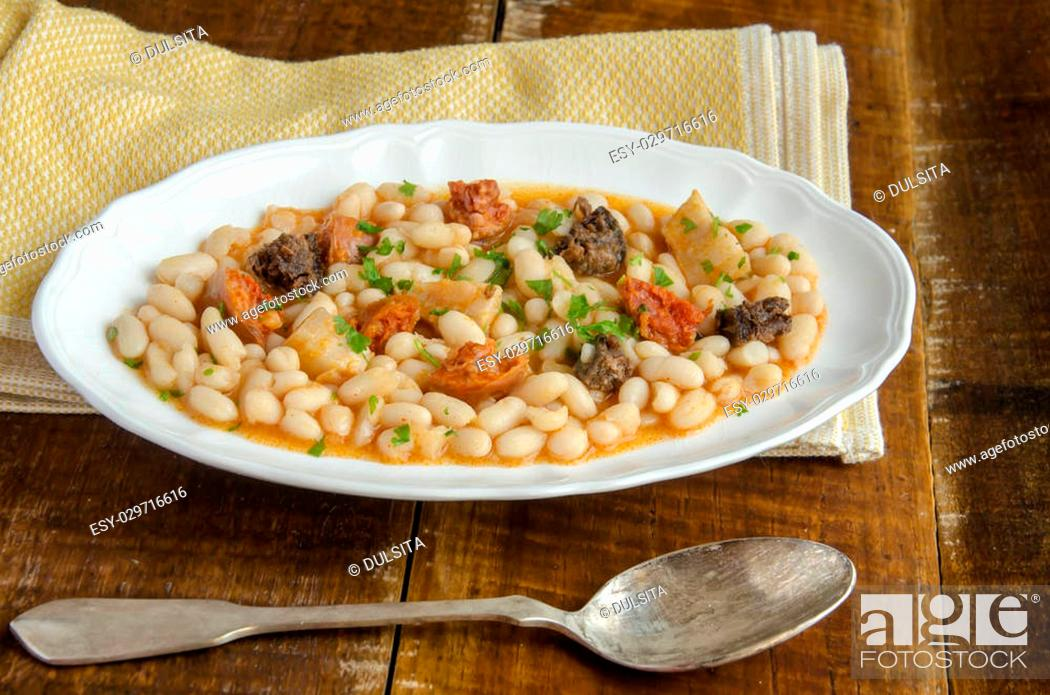 Stock Photo: Beans with chorizo and morcilla.