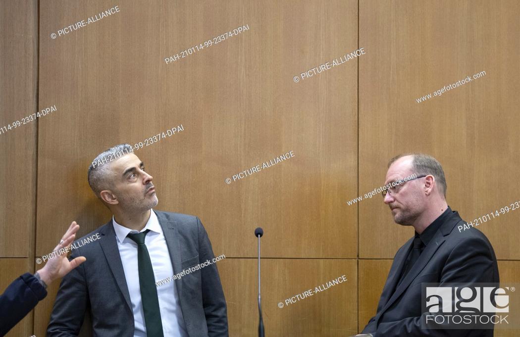 Stock Photo: 14 January 2021, Hessen, Frankfurt/Main: Mustafa Kaplan (l) and Jörg Hardies, defense lawyers of the main defendant S. Ernst.
