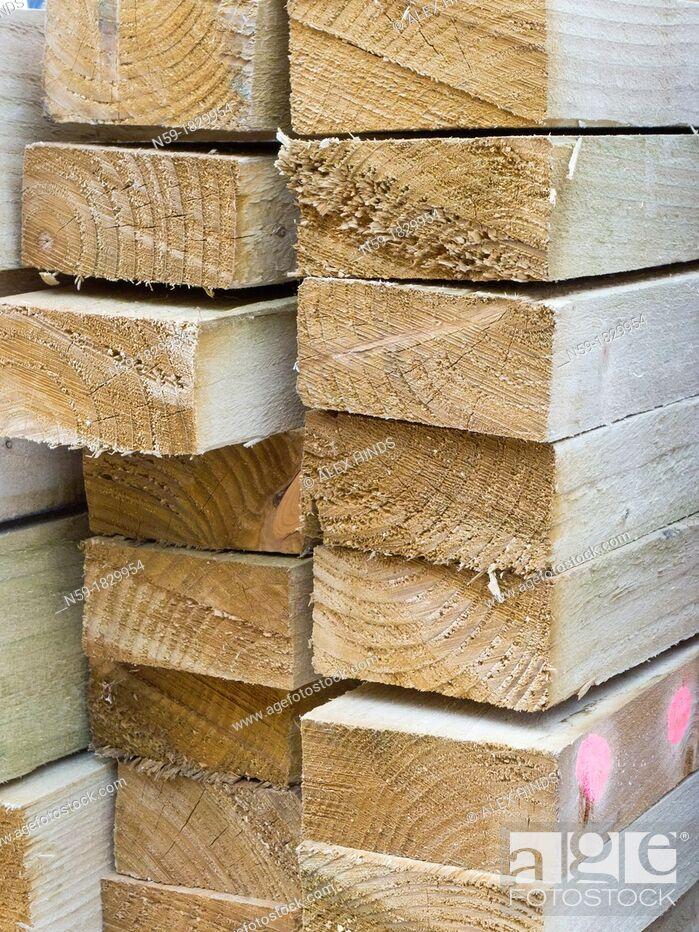 Stock Photo: Timber bearer joists building materials.