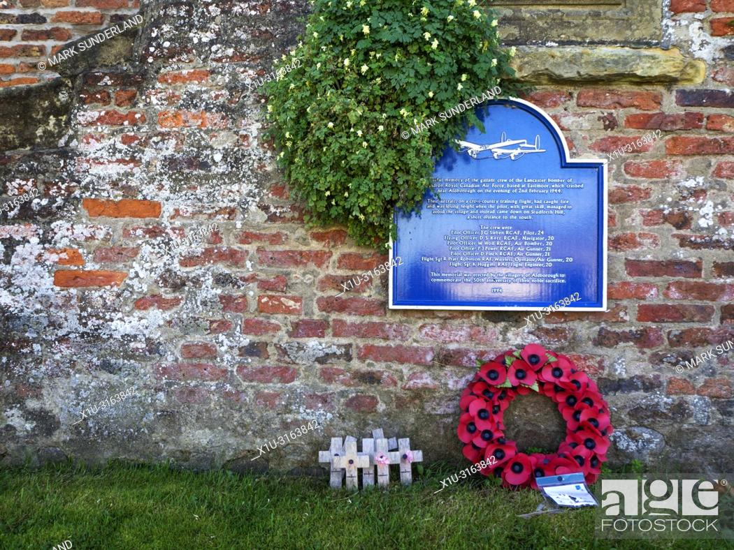 Stock Photo: Memorial to the crew of the RCAF Lancaster Bomber which crashed near Aldborough on 2nd February 1944 North Yorkshire England.