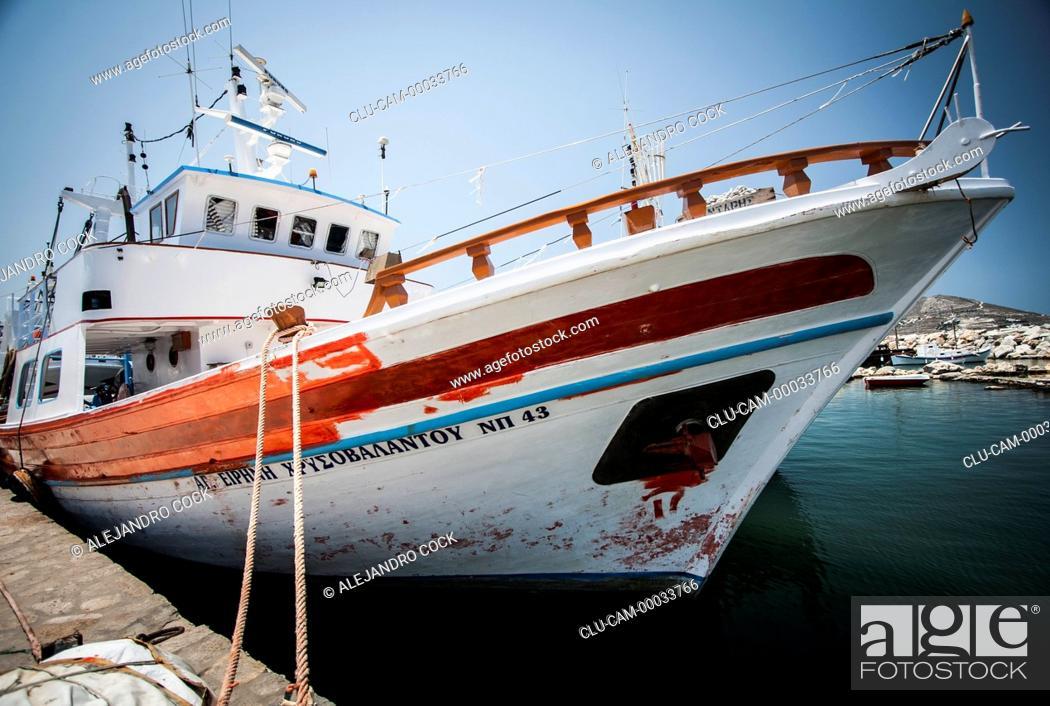 Stock Photo: Boats in Parikia in Paros, Greece, Western Europe.