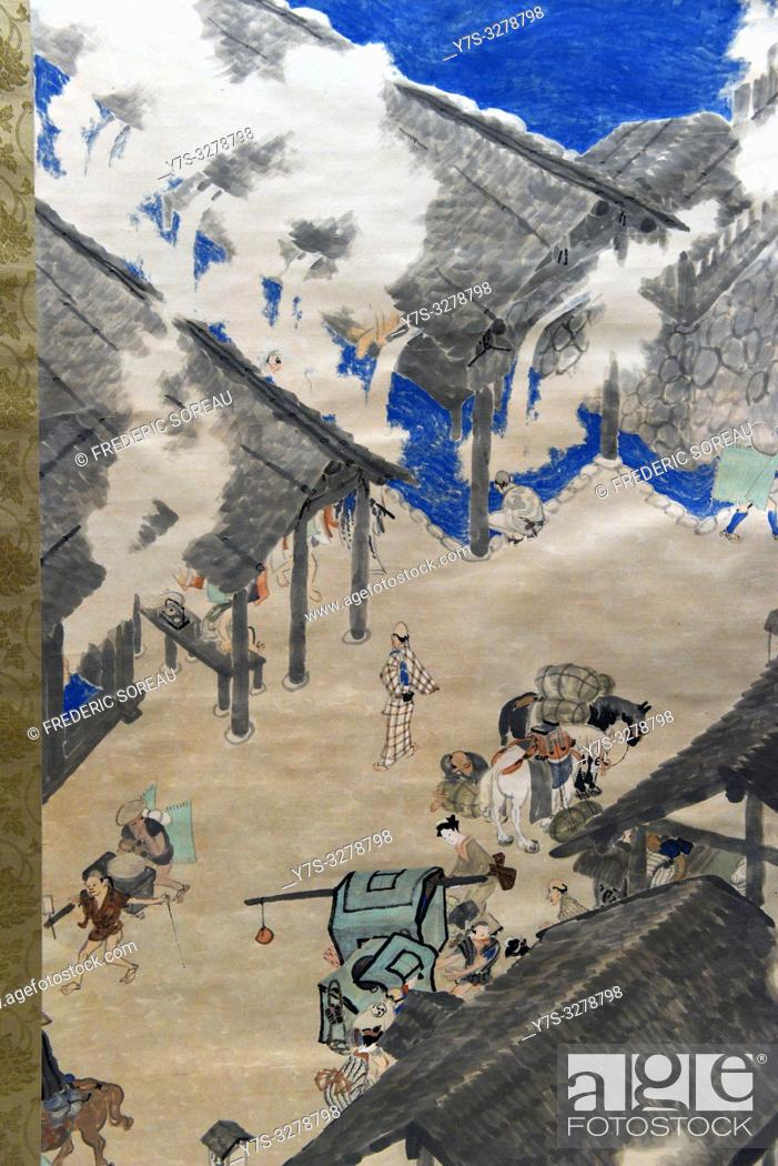 Imagen: Hot-spring Sanatoriums, by Maeda Seison (1885-1977), ink and color on paper, dated 1914,Tokyo National Museum,Tokyo,Honshu,Japan,Asia.