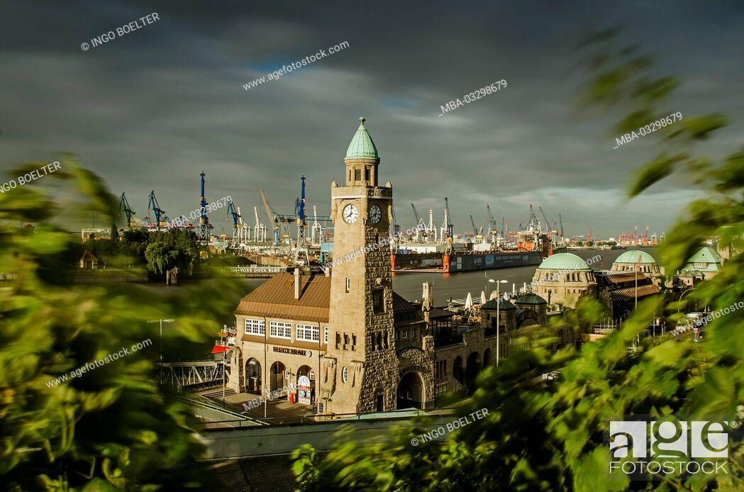 Stock Photo: Germany, Hamburg, harbour, harbor, port, St. Pauli landing stage, vineyard, gauge tower,.