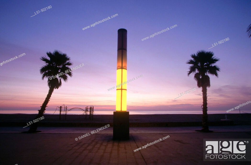 Stock Photo: La Patacona beach at sunrise. Valencia. Spain.