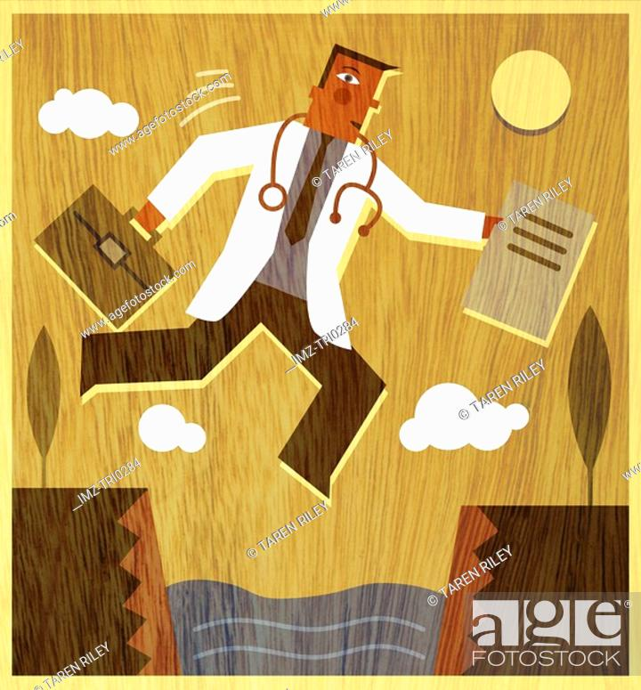 Stock Photo: A doctor holding a briefcase and files jumping across a canyon.