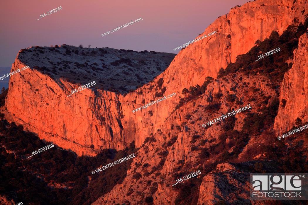 Stock Photo: Landscapes from Roques de Benet at sunset, Els Ports Natural Park, Horta de San Joan, Tarragona province, Catalonia, Spain.