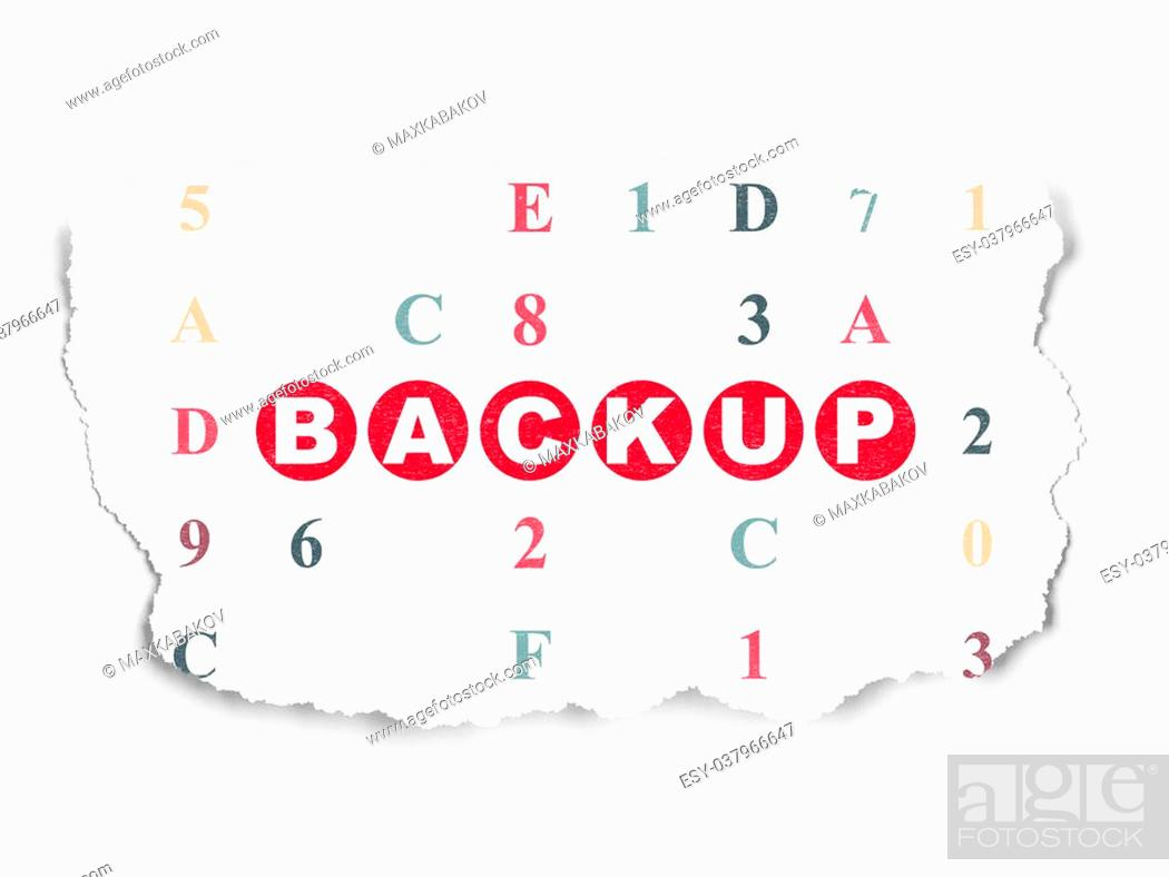 Imagen: Software concept: Painted red text Backup on Torn Paper background with Hexadecimal Code.
