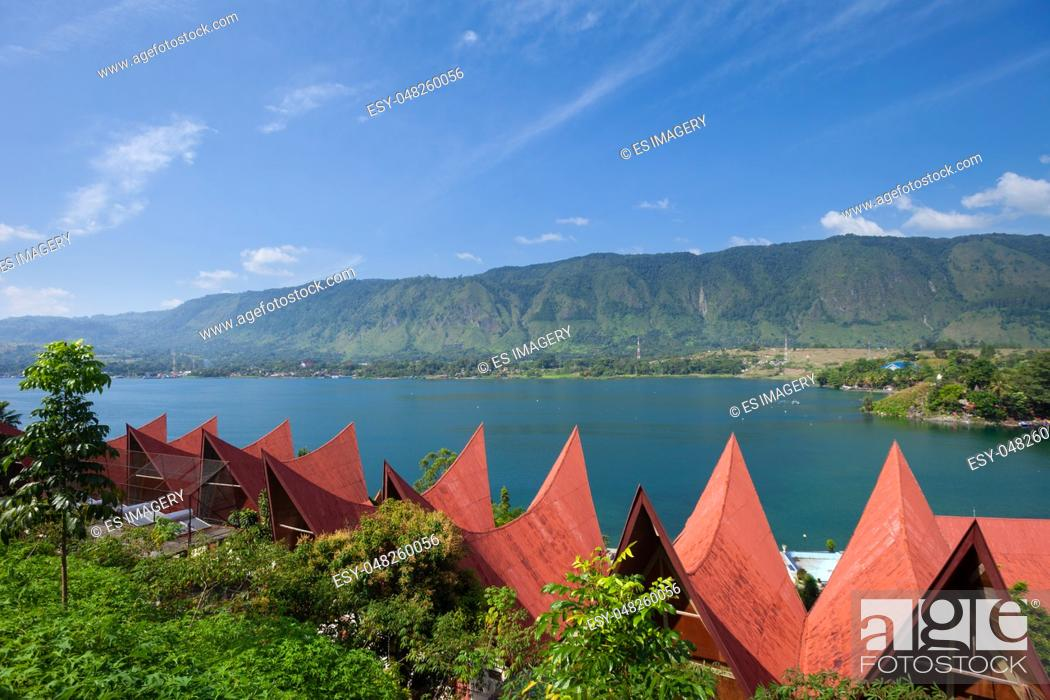 Stock Photo: Traditional Batak roof architecture in Tuk Tuk on Samosir Island, Lake Toba, , Sumatra, Indonesia.