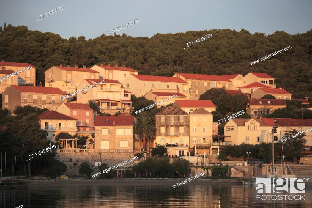 Stock Photo: Croatia, Korcula, Old Town, skyline, general view, harbor.