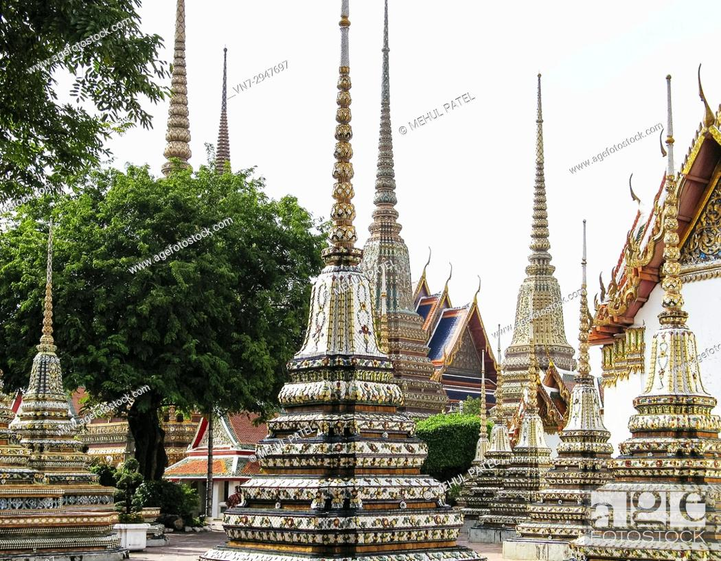 Stock Photo: Structures inside the grounds of the Temple of the Emerald Buddha (Wat Phra Kaew), Bangkok, Thailand, Asia.
