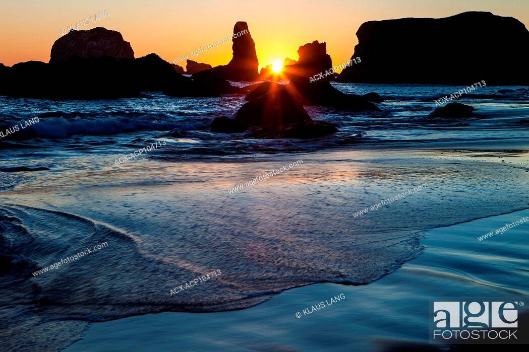 Stock Photo: Bandon Beach at Sunset, Bandon, Oregon.