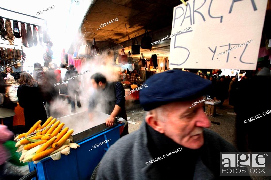 Stock Photo: Istanbul, Turkey. Cuma Pazari, Aksaray (Sunday open market, Aksaray). It's a popular open air market placed on the Aksaray area, in Istanbul.